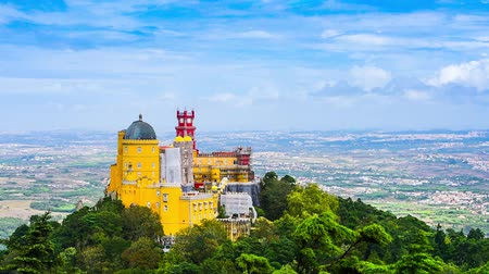saray : Sintra, Portugal at Pena National Palace. Stok Video