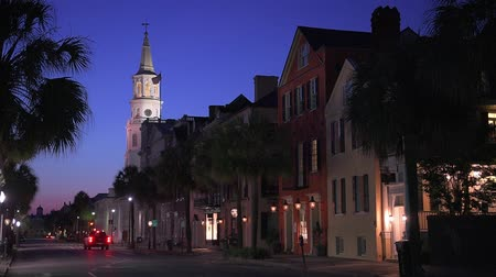 sc : Charleston, South Carolina, USA cityscape in the historic French Quarter at twilight.