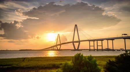 sc : Charleston, South Carolina, USA at Arthur Ravenel Jr. Bridge. Stock Footage