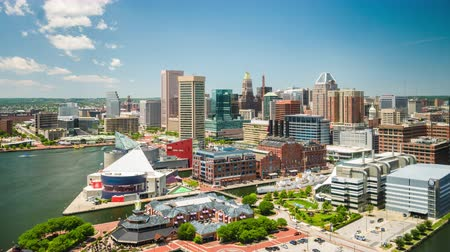 downtown aquarium : Baltimore, Maryland, USA Inner Harbor skyline time lapse. Stock Footage