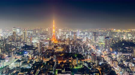 tokio : Tokyo, Japan skyline time lapse at night.