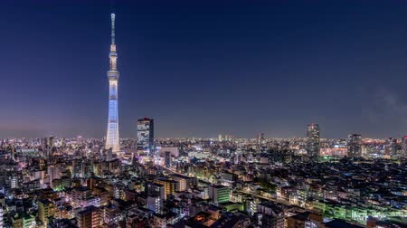 kanto district : Tokyo, Japan skyline time lapse at the Skytree Tower. Stock Footage
