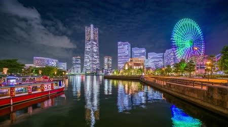 kanto district : Yokohama, Japan skyline time lapse of Minato Mirai District.