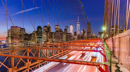 New York City financial district cityscape from the Brooklyn Bridge.