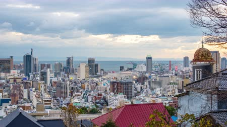 Kobe, Japan city skyline from Kitano historic district. Wideo