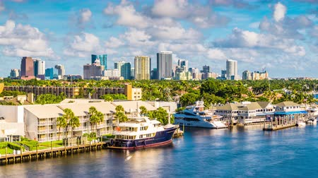 Fort Lauderdale, Florida, VS skyline. Stockvideo