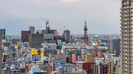 SAPPORO, JAPAN - FEBRUARY 18, 2017: Sapporo, Japan downtown cityscape from dusk to night. Wideo