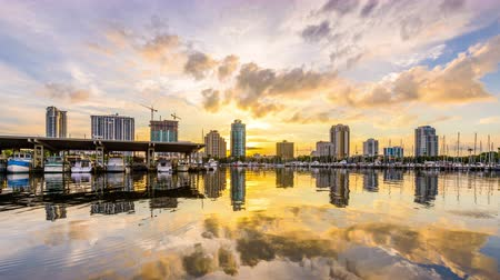 tampa bay : St. Petersburg, Florida, USA skyline time lapse.