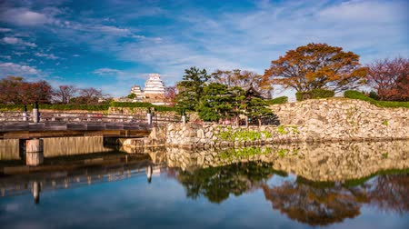 Himeji, Japan castle and moat time lapse. Wideo