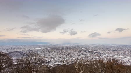 Sapporo, Japan winter skyline time lapse.