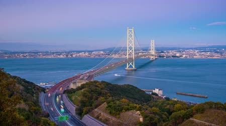 akashi strait : Akashi Kaikyo Bridge spanning the Seto Inland Sea from Awaji Island to Kobe, Japan.