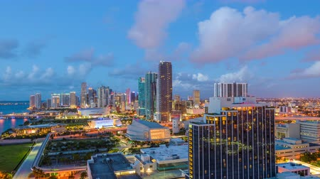 Miami, Florida, USA skyline time lapse from night to day.