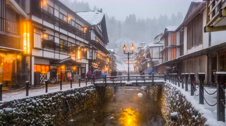 Obanazawa Ginzan Onsen, Japan a traditional hot springs town. Wideo