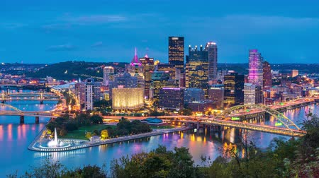 Pittsburgh, Pennsylvania, USA skyline time lapse. Wideo