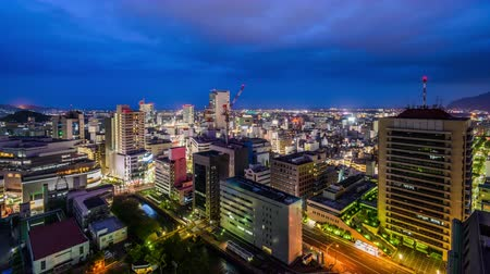 kanto district : Shizuoka City, Japan downtown skyline at night. Stock Footage
