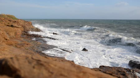 View of the rough sea on the Livorno coast
