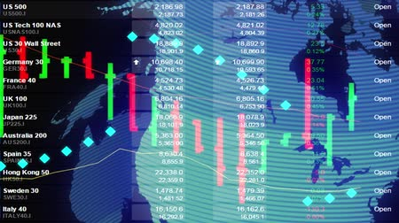 абстрактный фон : stock market price chart with real quotes ticker board and golographic earth globe - new quality financial business animated dynamic motion video footage