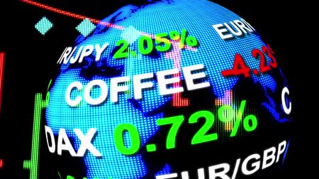 strzałki : stock market price chart with quotes ticker board on golographic earth globe - new quality financial business animated dynamic motion video footage