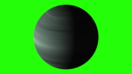 atmosféra : blue gas giant planet rotating and shading isolated on chroma key screen time lapse - new quality nature scenic view cool video footage
