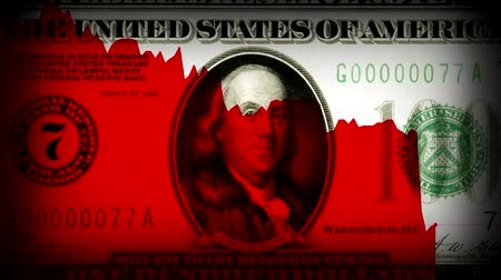 índice : America economy downfall in Great depression times old 100 dollars as background. new unique quality animated motion Vídeos