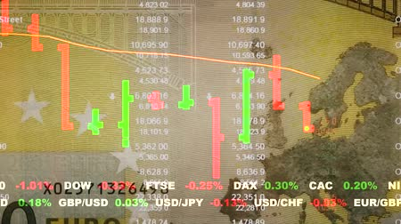 graph : stock market price quotes and chart opening dynamic animated motion video footage with word currency bills on background unique quality animated motion loop