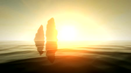 adriyatik : Two sea rocks at sunset in 3d - new quality nature scenic view cool video footage