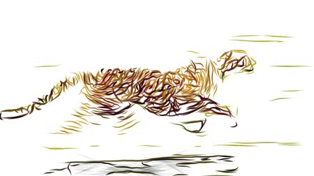 gepard : cheetah running pencil draw cartoon animation seamless endless loop new quality unique handmade dynamic joyful colorful video animal cat footage