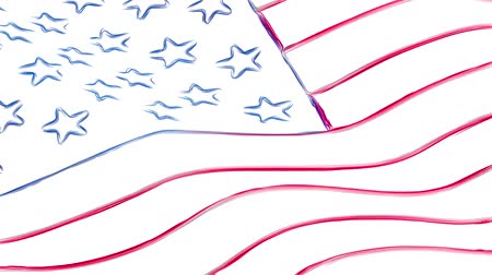 governo : USA America pencil drawn flag waving new quality unique animated dynamic motion joyful colorful cool background video footage Vídeos