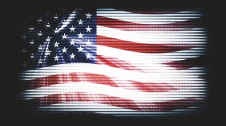 governo : USA America flag waving old TV seamless loop with sun light rays new quality unique animated dynamic motion joyful colorful cool background video footage