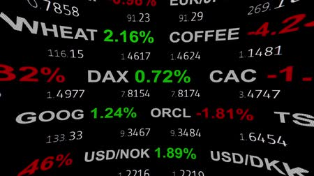 капитал : forex stock market index commodity ticker tape board news line on black background - new quality financial business animated dynamic motion video footage