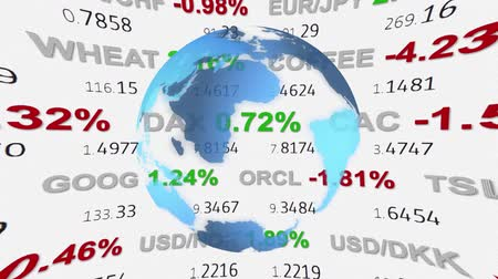czerwone tło : forex stock market ticker board tape news and hud holographic earth globe on background - new quality financial business animated dynamic motion video footage Wideo