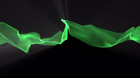 światłowód : digital polygon soft silk ribbon gentle waving in light rays green abstract background - new dynamic technology art motion colorful video footage