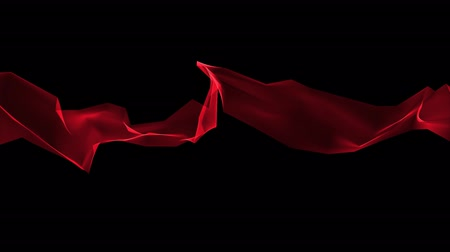 rendered : digital polygon soft silk ribbon gentle waving red abstract background - new dynamic technology art motion colorful video footage Stock Footage