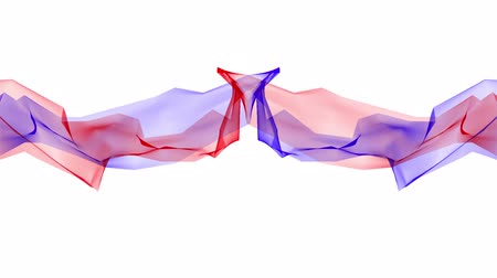 blue braid : digital polygon soft silk ribbon gentle waving blue red abstract background - new dynamic technology art motion colorful video footage Stock Footage