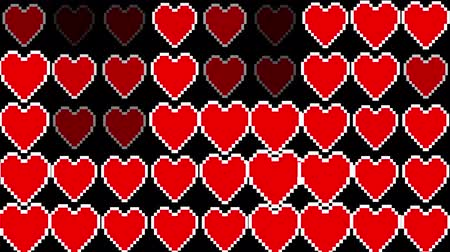 casado : pixel hearts light wall blinking seamless loop animation background new dynamic holiday retro joyful colorful vintage video footage