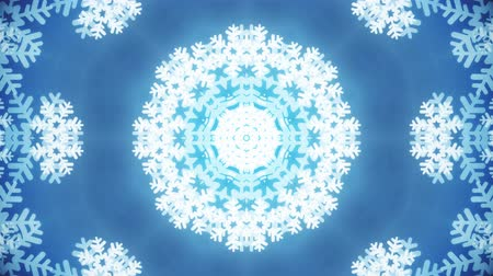 фантастический : kaleidoscope large snowflake animation background seamless loop - New quality shape universal motion dynamic animated colorful joyful holiday music video footage