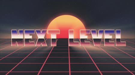 rolety : shiny retro 80s style lazer next level text fly in and out on grid sun stars animation background -new unique vintage beautiful dynamic joyful colorful video footage