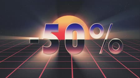 rolety : shiny retro 80s style sale discount off lazer text fly in and out on grid sun stars animation background -new unique vintage beautiful dynamic joyful colorful video footage