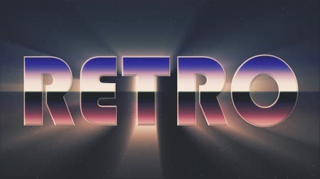 rolety : shiny retro 80s style lazer text fly in and out on stars animation background -new unique vintage beautiful dynamic joyful colorful video footage
