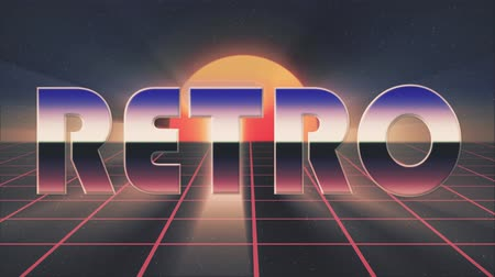 rolety : shiny retro 80s style lazer text fly in and out on grid sun stars animation background -new unique vintage beautiful dynamic joyful colorful video footage Wideo