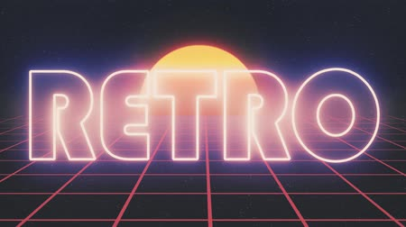 концерт : shiny retro 80s style lazer text fly in and out on grid sun stars animation background -new unique vintage beautiful dynamic joyful colorful video footage Стоковые видеозаписи