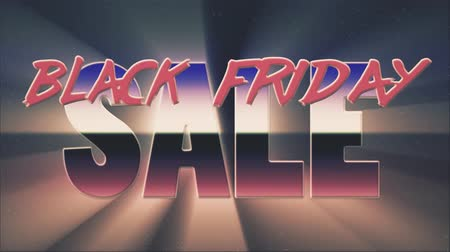 rolety : shiny retro 80s style lazer black friday sale text fly in and out on stars animation background -new unique vintage beautiful dynamic joyful colorful video footage Wideo