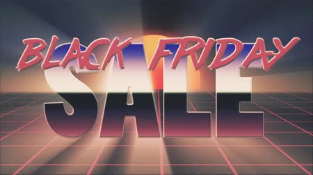 rolety : shiny retro 80s style lazer black friday sale text fly in and out on grid sun stars animation background -new unique vintage beautiful dynamic joyful colorful video footage