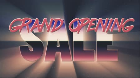 rolety : shiny retro 80s style lazer grand opening sale text fly in and out on stars animation background -new unique vintage beautiful dynamic joyful colorful video footage Wideo