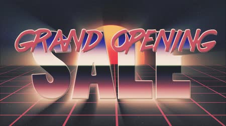 rolety : shiny retro 80s style lazer grand opening sale text fly in and out on grid sun stars animation background -new unique vintage beautiful dynamic joyful colorful video footage