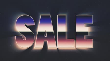 rolety : shiny retro 80s style lazer sale text fly in and out on stars animation background -new unique vintage beautiful dynamic joyful colorful video footage