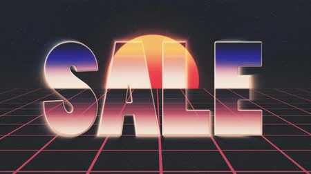 rolety : shiny retro 80s style lazer sale text fly in and out on grid sun stars animation background -new unique vintage beautiful dynamic joyful colorful video footage
