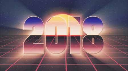 rolety : shiny retro 80s style lazer 2018 new year text fly in and out on grid sun stars animation background -new unique vintage beautiful dynamic joyful colorful video footage