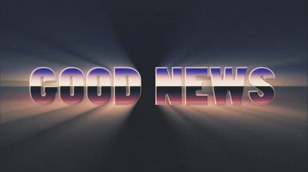 rolety : shiny retro 80s style lazer good news text fly in and out on stars animation background -new unique vintage beautiful dynamic joyful colorful video footage Wideo