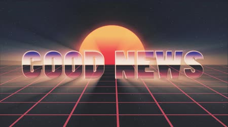 rolety : shiny retro 80s style lazer good news text fly in and out on grid sun stars animation background -new unique vintage beautiful dynamic joyful colorful video footage